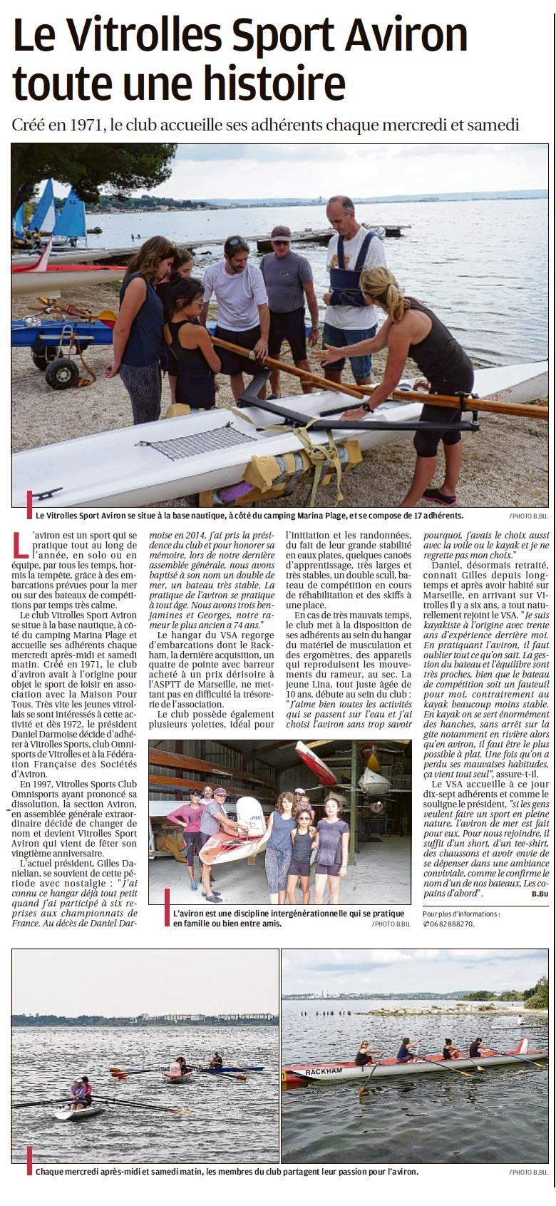 Article de la Provence club d'aviron de Vitrolles